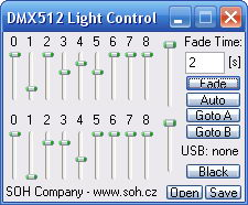 DMX512 Light Control Small Dialog for PDA, WinCE, Pocket PC