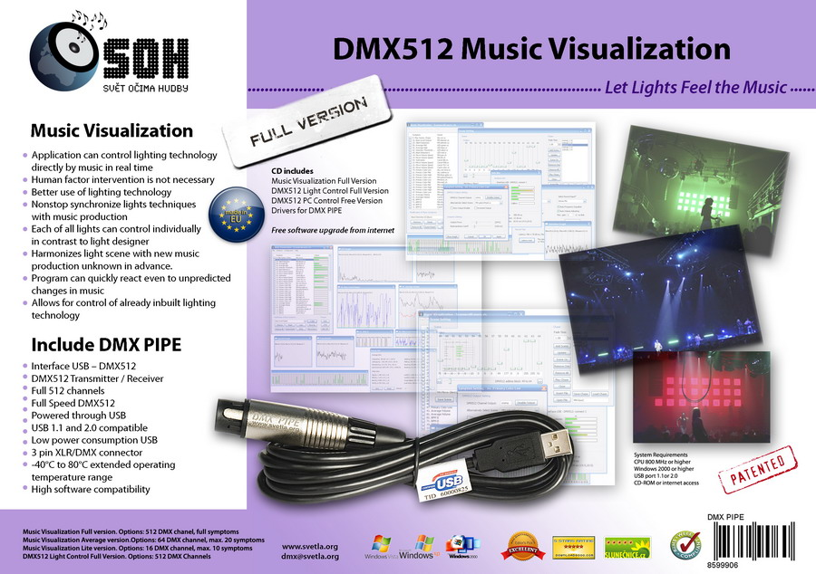 DMX Music Visualization, DMX Pipe, USB-DMX512 Module